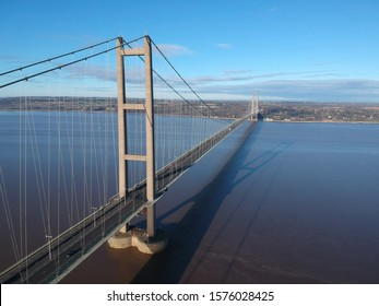 A northbound aerial view of the Humber Bridge