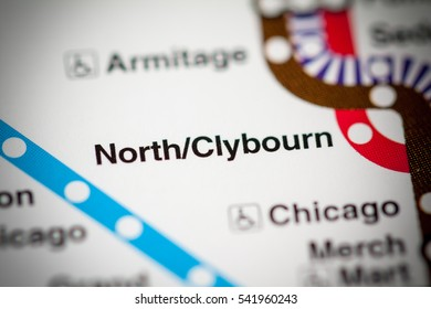North/Clybourn Station. Chicago Metro map.
