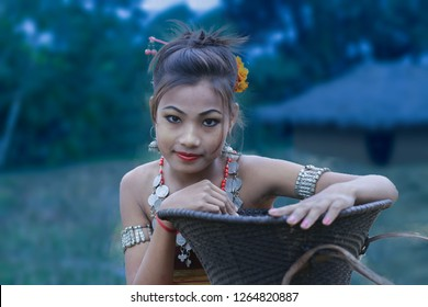 Northeast india murasing girl wear traditional jewelry.