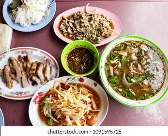 northeast Thai food papaya salad, Minced Pork,Grilled Pork Neck,Pork Tendon Spicy Soup