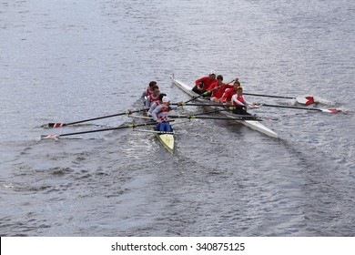 Northeastern (left) and Cornell(right) collide BOSTON - OCTOBER 18, 2015: races in the Head of Charles Regatta Mens's Championship Fours [PUBLIC RACE]
