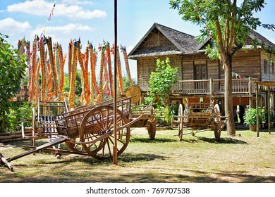 North-eastern Thai traditional house style in Isan Village that is the highlight of farm tour at Jim Thompson Farm, Nakornratchasima, Thailand on 3 December 2017