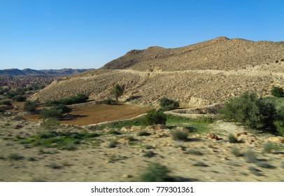 Northern Africa landscape. Desert in Tunisia