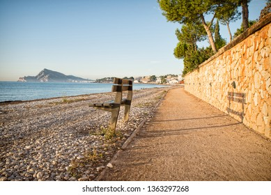 Northern Altea beach promenade with a lovely look over the Mediterranean landscape