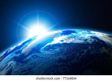 northern area of the Earth, the Arctic, with sun background