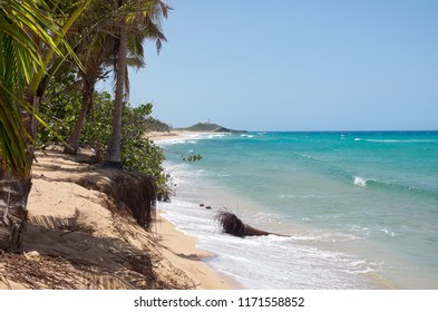 northern coast of puerto rico along atlantic shore with arecibo lighthouse in distance