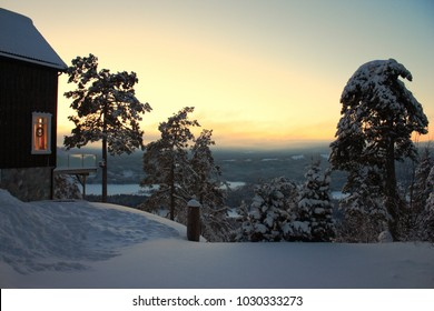 Northern countryside view before sunset