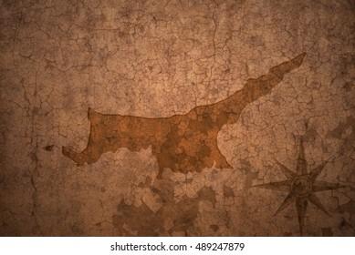 northern cyprus map on a old vintage crack paper background
