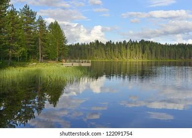 Northern Finland. Sunshine on the lake