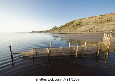 """Northern fishing trap """"Ryuzha"""" on the shore of the White Sea. Russia, Arkhangelsk region"""