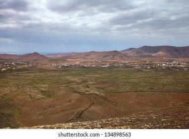 Northern Fuerteventura, Canary Islands, view east from Montana de Arena