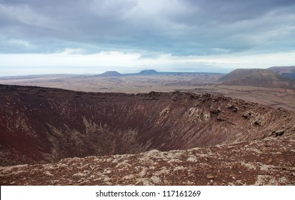 Northern Fuerteventura, overcast day, view north over crater of Calderon Hondo