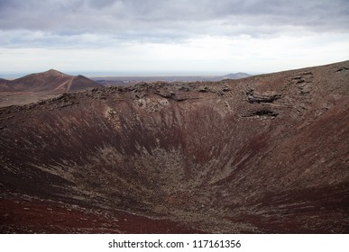 Northern Fuerteventura, overcast day, view east over crater of Calderon Hondo