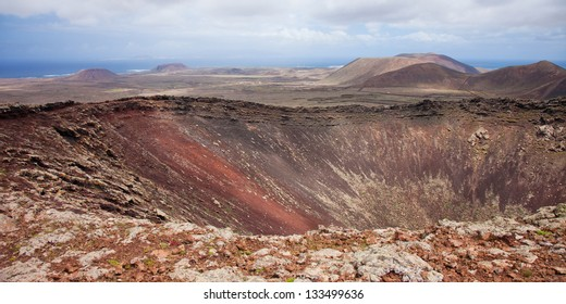 Northern Fuerteventura, view over volcanic crater of Calderon Hondo