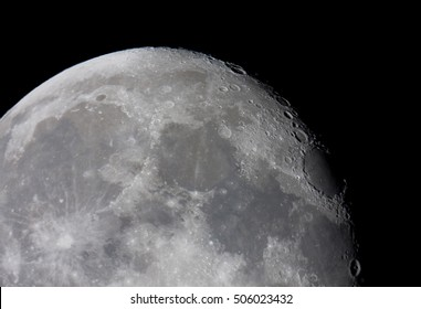 northern hemisphere of the moon, picture taken with telescope