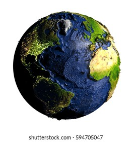 Northern Hemisphere on planet Earth with exaggerated surface features including ocean floor. 3D illustration isolated on white background. Elements of this image furnished by NASA.