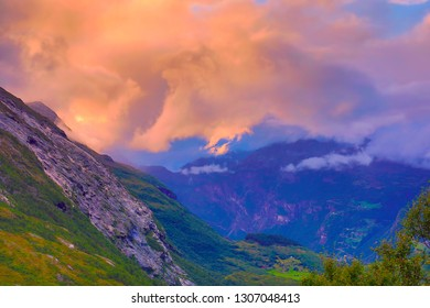 Northern highlands, scandinavian rocks, clody sky and mountians, norwegian landscape
