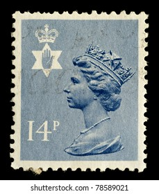 NORTHERN IRELAND - CIRCA 1971 to 1991: A Northern Ireland Used Postage Stamp showing Portrait of Queen Elizabeth 2nd, circa 1971 to 1991