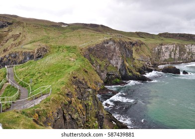 Northern Ireland landscape with green cliffs and the Irish Sea