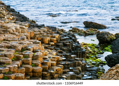Northern Ireland, UK. Morning view of a Causeway coast and glens with Giants Causeway and sea in Northern Ireland, UK