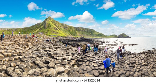 NORTHERN IRELAND, UNITED KINGDOM - JUNE 14, 2016: Giant's Causeway in a beautiful summer day, Northern Ireland on June 14, 2016