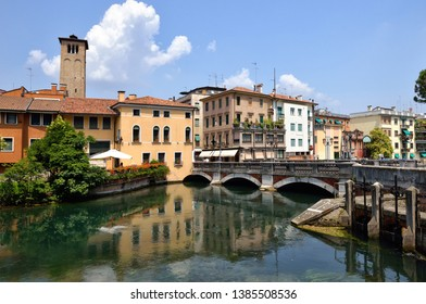 The northern Italian town of Treviso in the province of Veneto, it is located close to Treviso, Padua and, Vicenza. View of the city of Treviso Italy. Venetian architecture in Treviso, Italy.