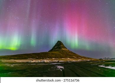 The Northern Light Aurora borealis at Kirkjufell Iceland