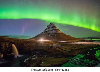 The Northern Light Aurora borealis at Kirkjufell, Iceland.
