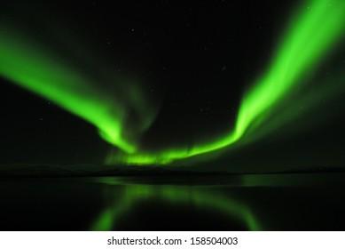 northern light (Aurora borealis) Lake Tornetraesk near Abisko