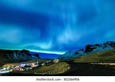 The Northern Light aurora over at Vik city Iceland