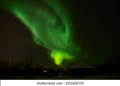 Northern light in Heiðmörk, near Reykjavík, Iceland