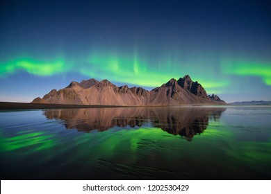 Northern light at  Vesturhorn mountain in Iceland