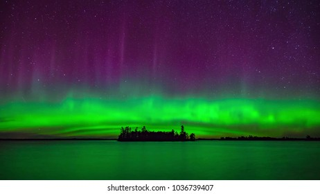 Northern lights above the island