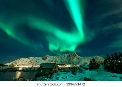 Northern lights above Lofoten islands, Norway