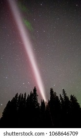 The Northern Lights and atmospheric phenomenon 'STEVE' which appears as a purple and green light ribbon in the sky. 'STEVE' is caused by a 25 km wide ribbon of hot gases at an altitude of 450 km