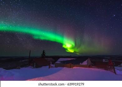Northern lights ,Aurora borealis, dancing over Fairbanks Alaska