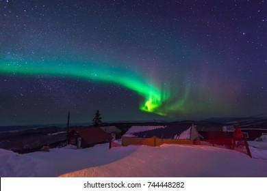Northern lights ,Aurora borealis, dancing over Fairbank Alaska