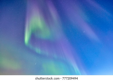 The Northern lights or Aurora Borealis form a beautiful pattern in iceland.