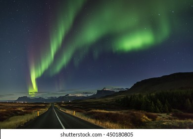 Northern Lights - Aurora borealis over Snaefellsnes peninsula in Iceland