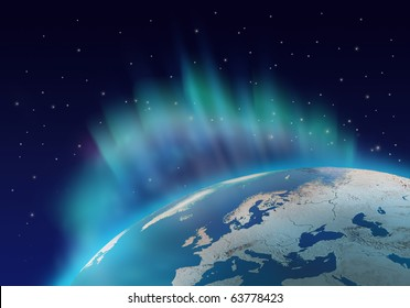 Northern lights aurora borealis over planet Earth northern hemisphere