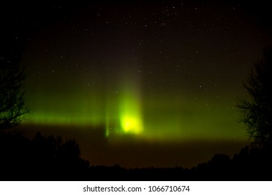 The Northern Lights Aurora Borealis peakes. An aurora is a natural light display in the sky, predominantly seen in the high latitude (Arctic / Antarctic) regions but sometimes even in Uppland, Sweden
