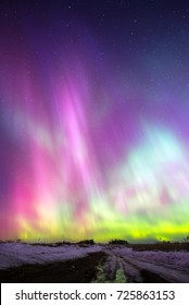 Northern lights (Aurora borealis) in Russia. Izhevsk