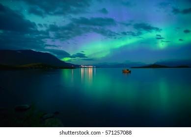Northern lights background in Abisko national park in Sweden