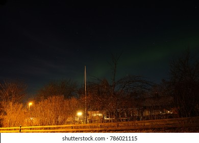 Northern lights in Bjorklinge village, uppsala, Sweden