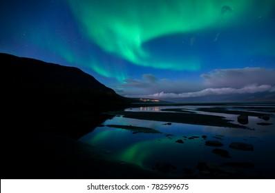 Northern lights dancing over Abisko national park in Sweden