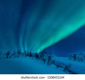 Northern lights dancing over the arctic landscape of northern Norway