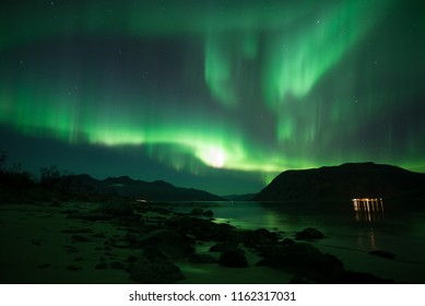 Northern Lights Dark clear sky Dancing Lights- Tromso - Gateway to Northpole  Norway