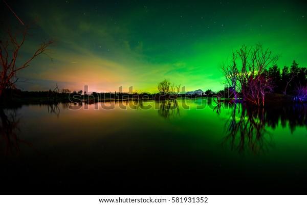 Northern Lights  ,  Dark night sky beautiful green