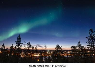 Northern lights in Finland over Rovaniemi