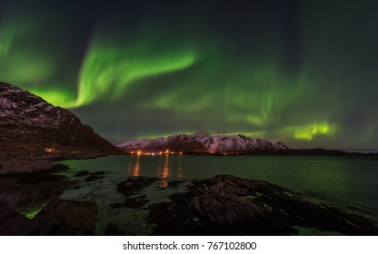 Northern lights at Hamnoy, Lofoten islands.